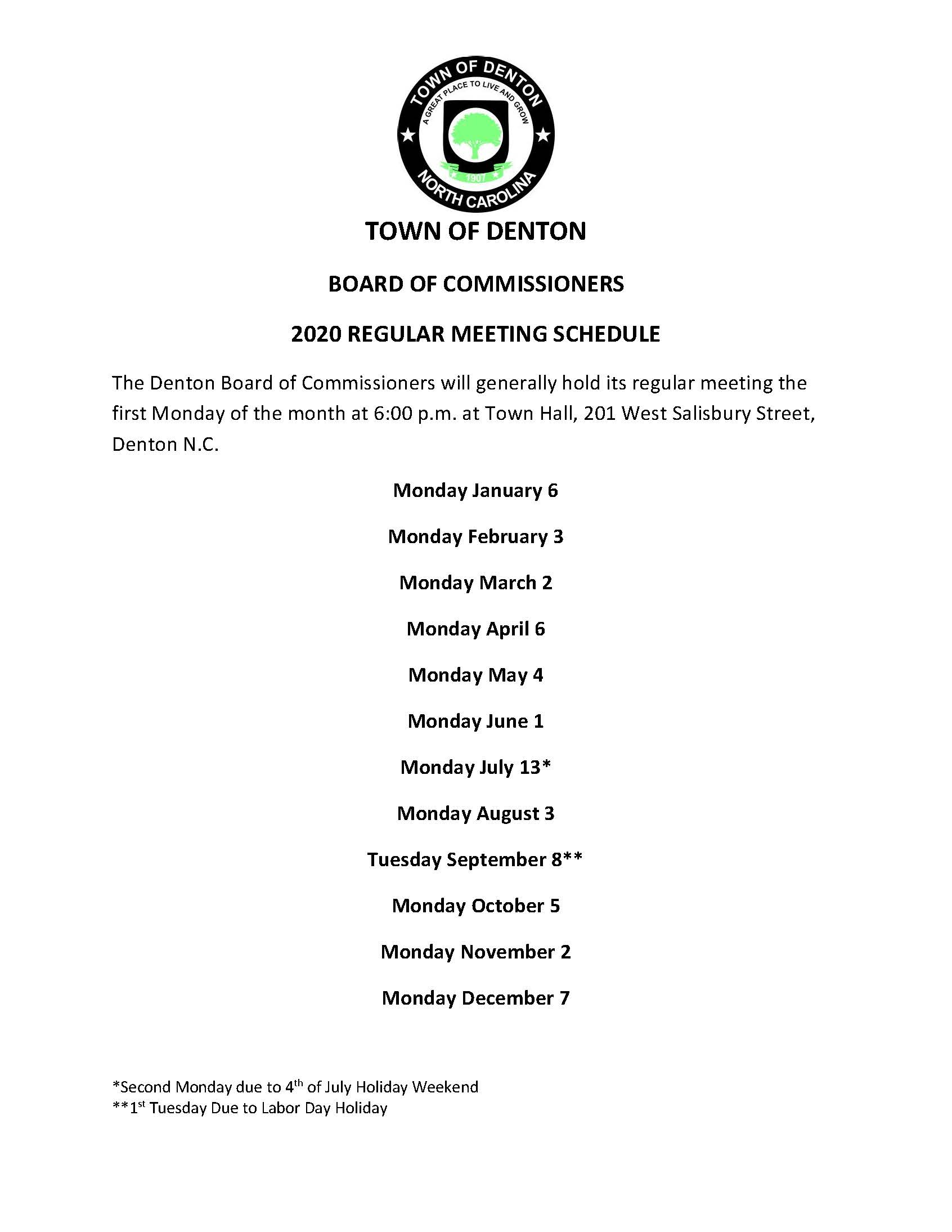 2020 Board of Commissioner Meeting Schedule