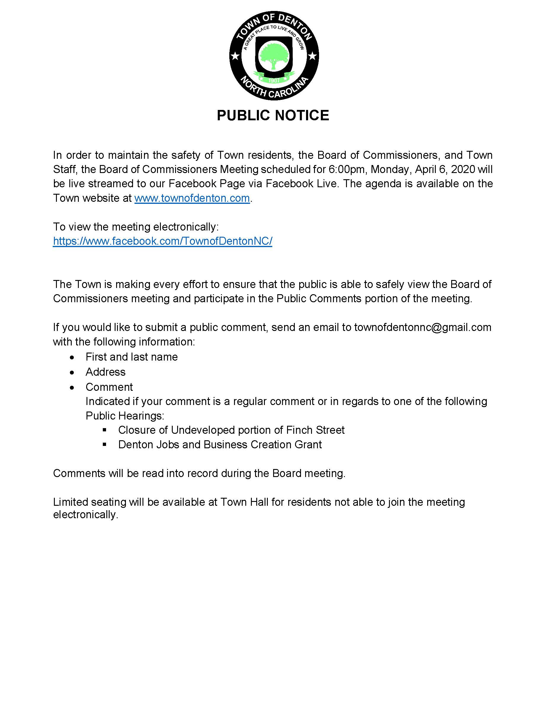Public Notice Electronic Meeting 04 06 20